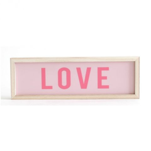 "Cadre Lumineux Rectangle ""Love"" Rose"