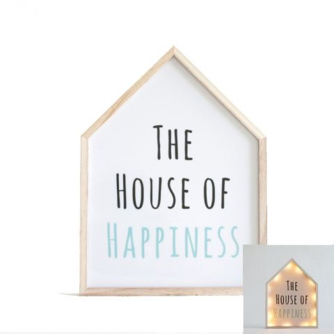 "Cadre Lumineux Maison ""The House of Happiness"" Blanc"