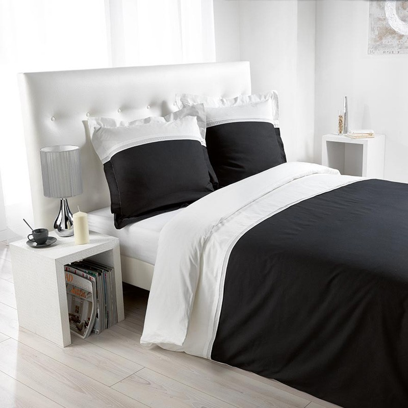 parure de lit 3 pi ces duoline 220x240cm blanc noir. Black Bedroom Furniture Sets. Home Design Ideas