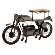 "Table de Bar Design ""Motocyclette"" 200cm Gris"