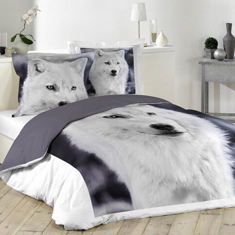 parure de lit 3 pi ces chien loup 220x240cm. Black Bedroom Furniture Sets. Home Design Ideas