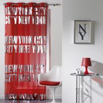 "Rideau Voilage ""New York Silver"" 140x260cm Rouge"