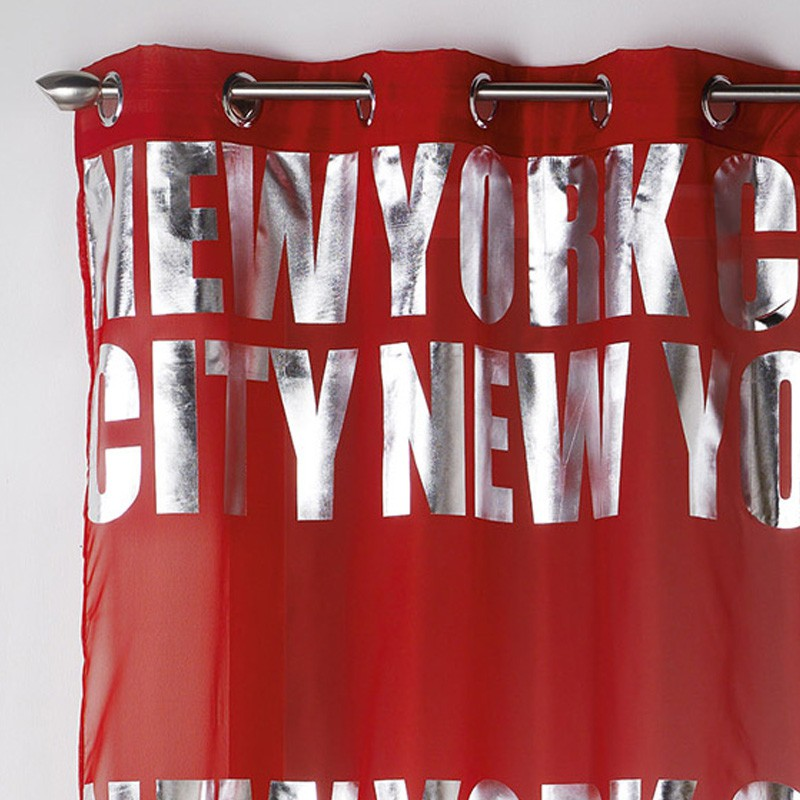 Rideau voilage new york silver 140x260cm rouge for Rideau new york chambre