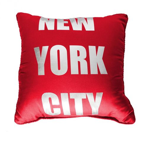 "Coussin Microfibre ""New York Silver"" 40x40cm Rouge"
