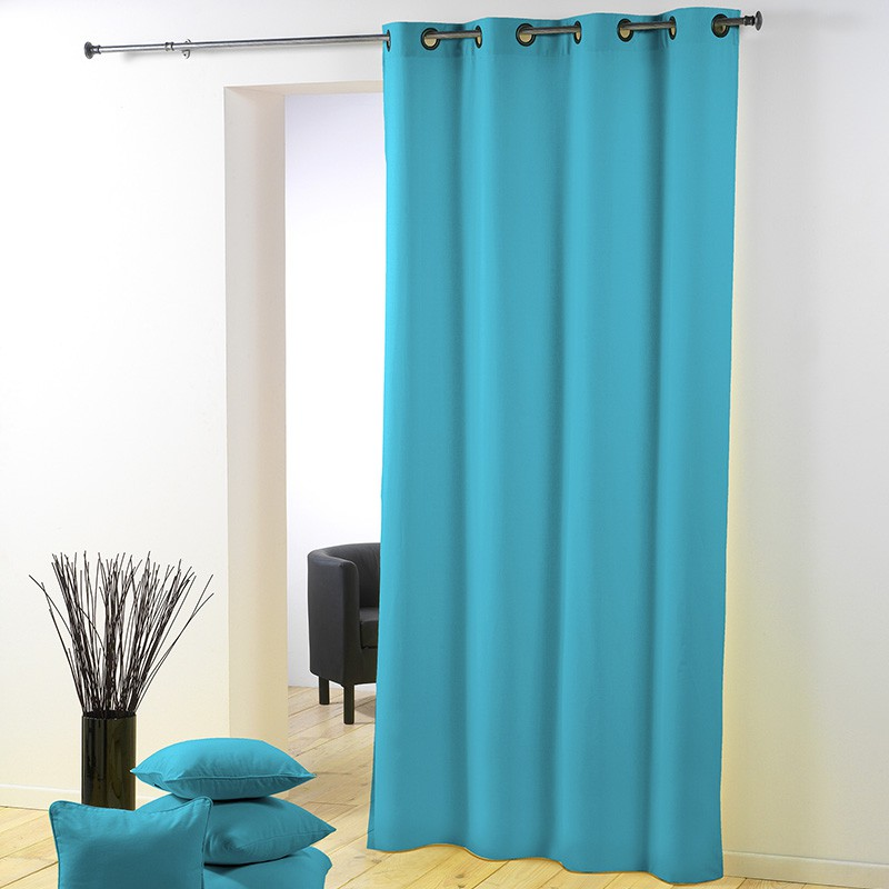 Rideau polyester essentiel 140x260cm turquoise for Rideau turquoise