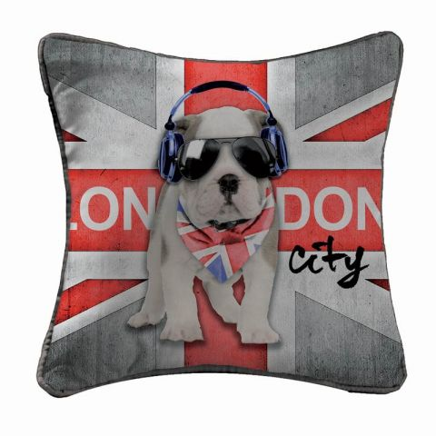 "Coussin ""London Boy"" 40x40cm Rouge"