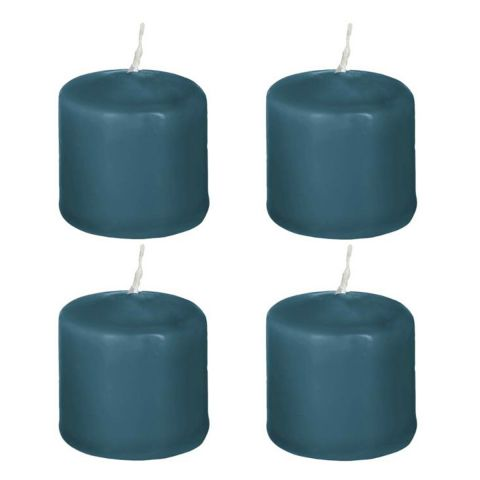 "Lot de 4 Bougies Votives ""Basic"" 3cm Bleu Canard"