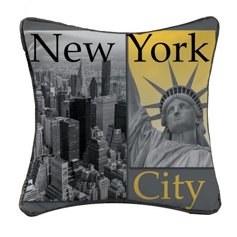 "Coussin ""New York Yellow"" 40x40cm Anthracite"