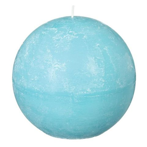 """Bougie Boule """"Rustic"""" 12cm Turquoise"""
