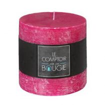"Bougie Cylindrique ""Rustic"" 10cm Fuchsia"