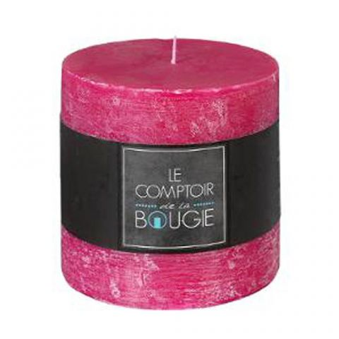 """Bougie Cylindrique """"Rustic"""" 10cm Fuchsia"""