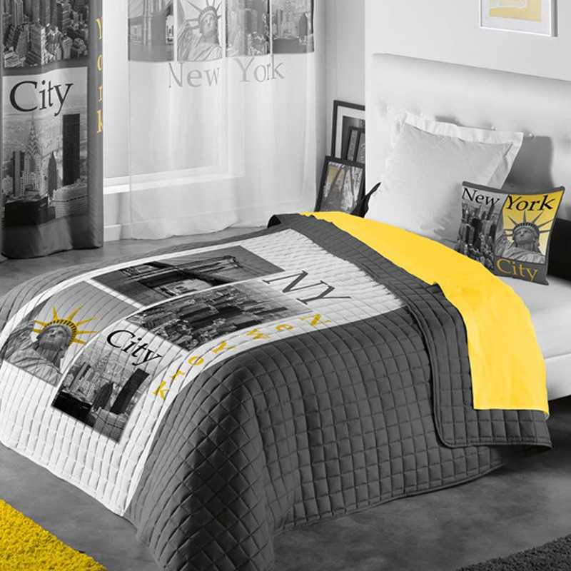 couvre lit matelass new york yellow 220x240cm. Black Bedroom Furniture Sets. Home Design Ideas