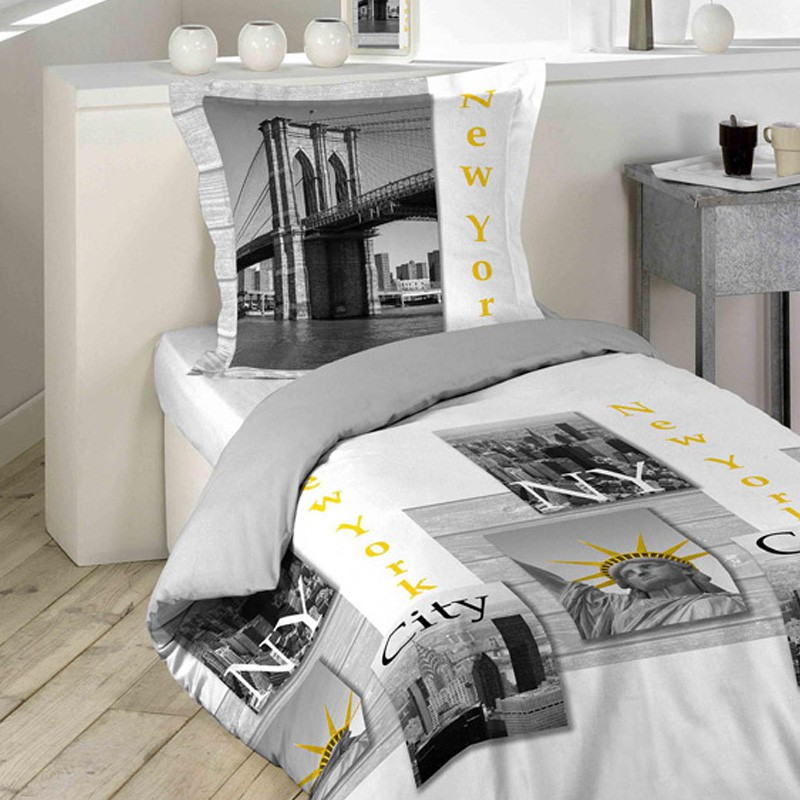 parure de lit 2 pi ces new york yellow 140x200cm blanc. Black Bedroom Furniture Sets. Home Design Ideas