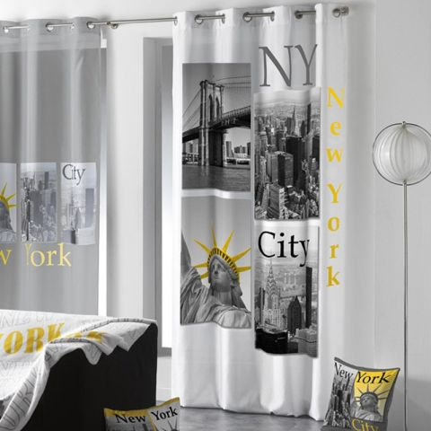 "Rideau ""New York Yellow"" 140x260cm Blanc"