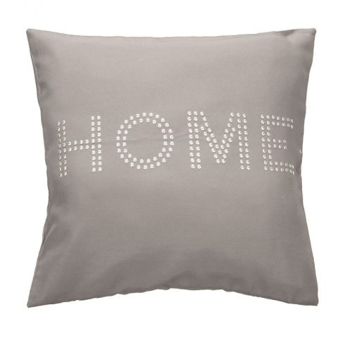 """Housse de Coussin """"Home Strass"""" 40x40cm Taupe"""