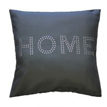 "Housse de Coussin ""Home Strass"" 40x40cm Anthracite"
