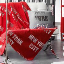 "Plaid Polaire ""New York Silver"" 127x152cm Rouge"