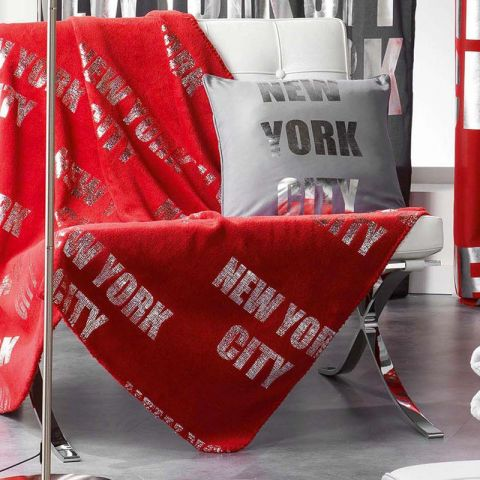 plaid polaire new york silver 127x152cm rouge. Black Bedroom Furniture Sets. Home Design Ideas