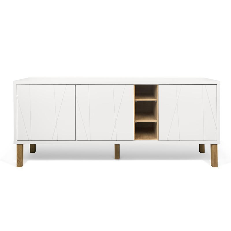 temahome buffet 3 portes avec pieds niche blanc mat grav ch ne. Black Bedroom Furniture Sets. Home Design Ideas