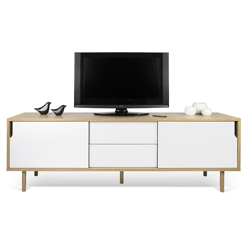 temahome meuble tv 2 portes 2 tiroirs dann blanc mat ch ne. Black Bedroom Furniture Sets. Home Design Ideas