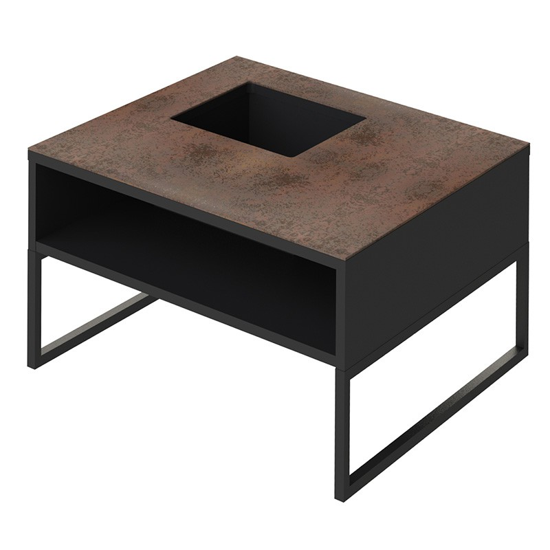 Temahome table basse sigma c ramique marron pieds en - Table basse ceramique design ...
