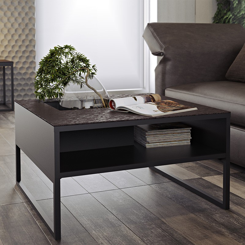 temahome table basse sigma c ramique marron pieds en. Black Bedroom Furniture Sets. Home Design Ideas