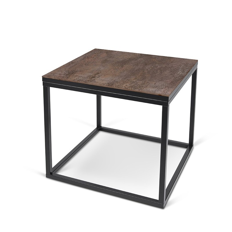 temahome table d 39 appoint design sigma c ramique marron pieds en m tal. Black Bedroom Furniture Sets. Home Design Ideas
