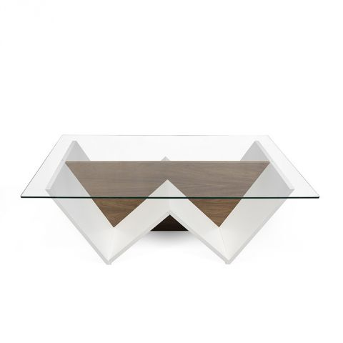 "TemaHome - Table Basse ""Walt"" Blanc Mat & Noyer"