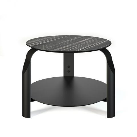 "TemaHome - Table d'appoint ""Scale"" Blanc Mat & Noir"