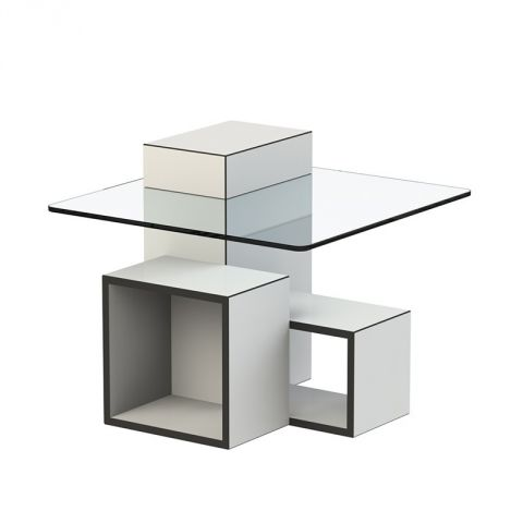 "TemaHome - Table d'Appoint Design ""Gutta"" Verre & Blanc Mat"