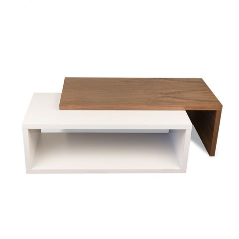 "TemaHome - Table Basse 90cm ""Jazz"" Blanc Mat & Noyer"