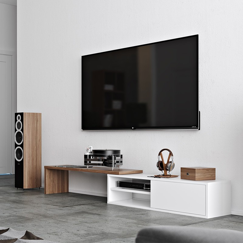 temahome meuble tv move noyer blanc mat. Black Bedroom Furniture Sets. Home Design Ideas