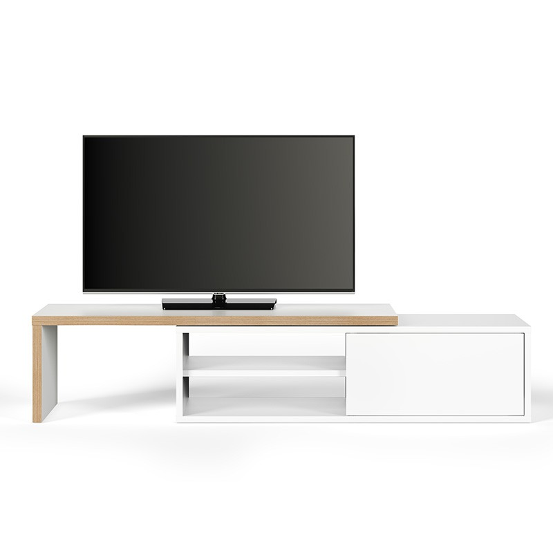 temahome meuble tv move contreplaqu blanc mat. Black Bedroom Furniture Sets. Home Design Ideas