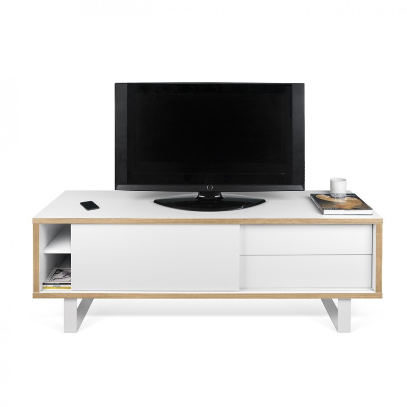 temahome meuble tv nilo blanc mat contreplaqu. Black Bedroom Furniture Sets. Home Design Ideas