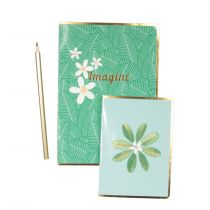 "Lot de 2 Carnets & Crayon ""Imagine"" 21cm Vert"