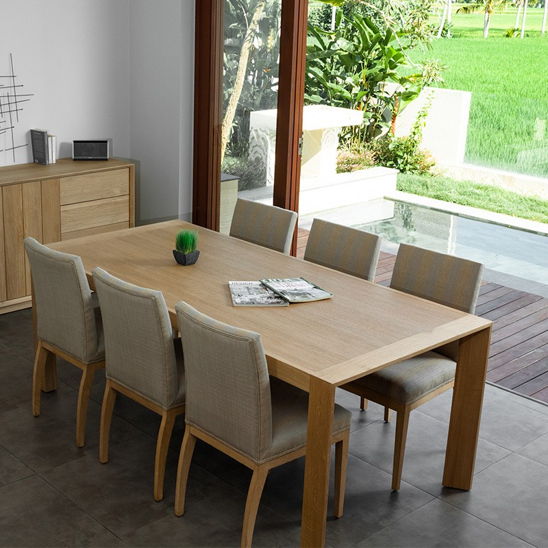 table de salle manger kubico 200cm ch ne massif. Black Bedroom Furniture Sets. Home Design Ideas