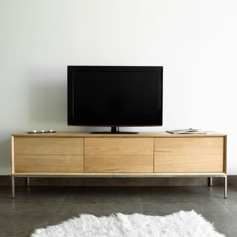 meuble tv 2 tiroirs 1 porte kubico ch ne massif. Black Bedroom Furniture Sets. Home Design Ideas