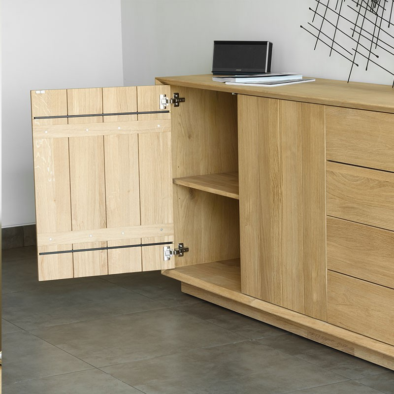 buffet 2 portes 4 tiroirs kubico ch ne massif. Black Bedroom Furniture Sets. Home Design Ideas