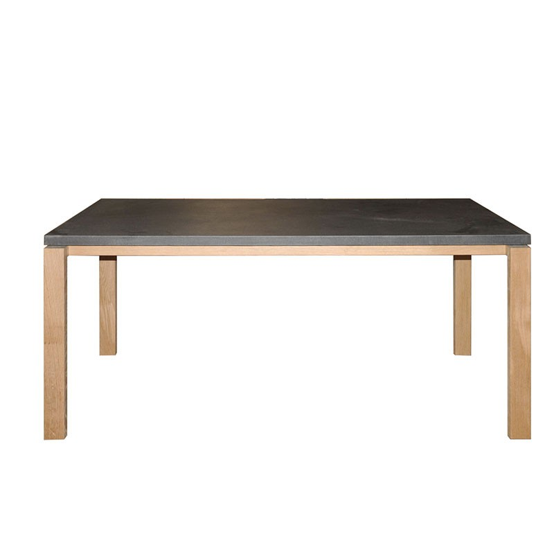 Table de salle manger uleg ch ne massif b ton for Table de salle a manger retractable