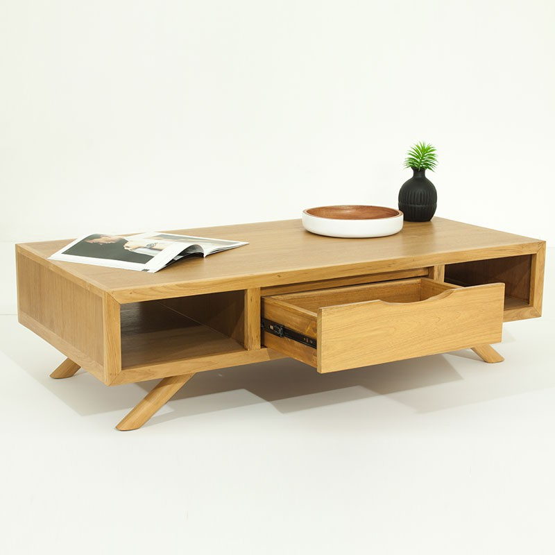 table basse fiftees naturel. Black Bedroom Furniture Sets. Home Design Ideas