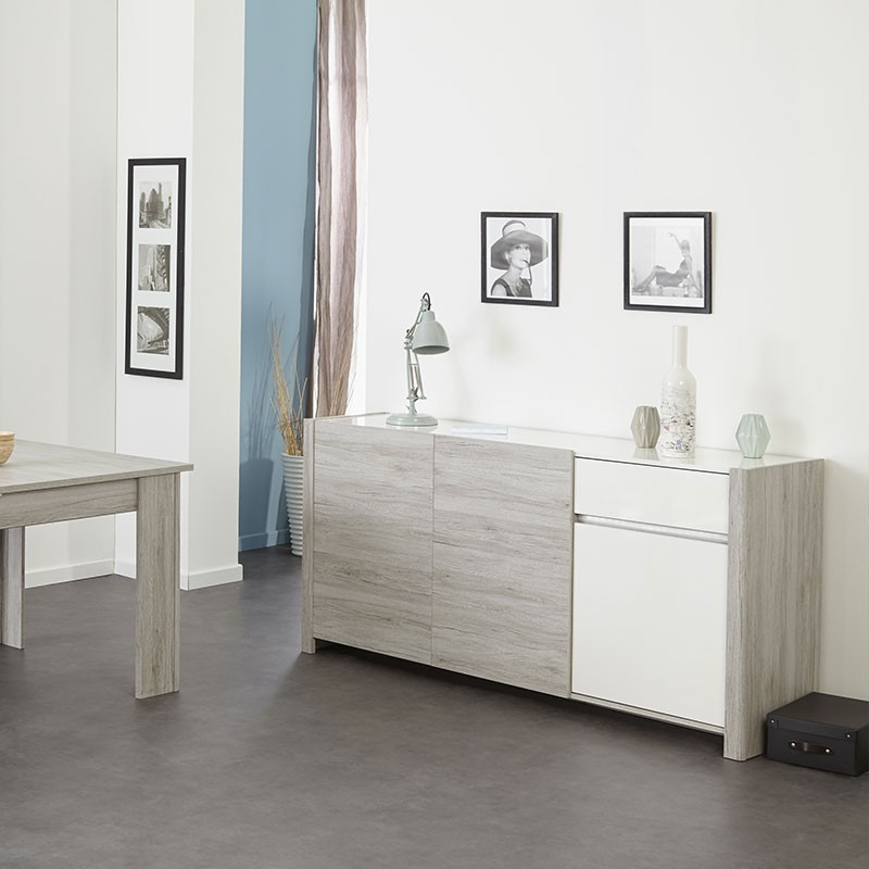 buffet 3 portes bellissimo gris. Black Bedroom Furniture Sets. Home Design Ideas