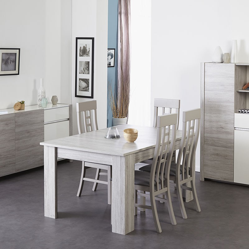 Table de salle manger extensible bellissimo 155 190cm gris for Table salle a manger design gris