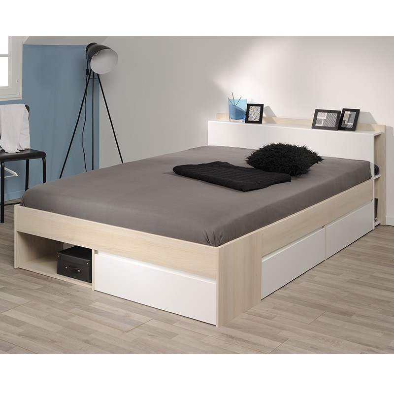Lit adulte avec tiroirs 160x200cm choozy naturel for Lit adulte avec commode