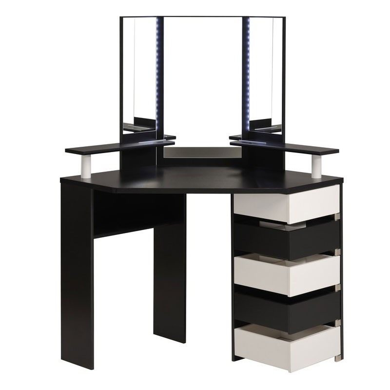 coiffeuse d 39 angle avec leds dolly noir. Black Bedroom Furniture Sets. Home Design Ideas