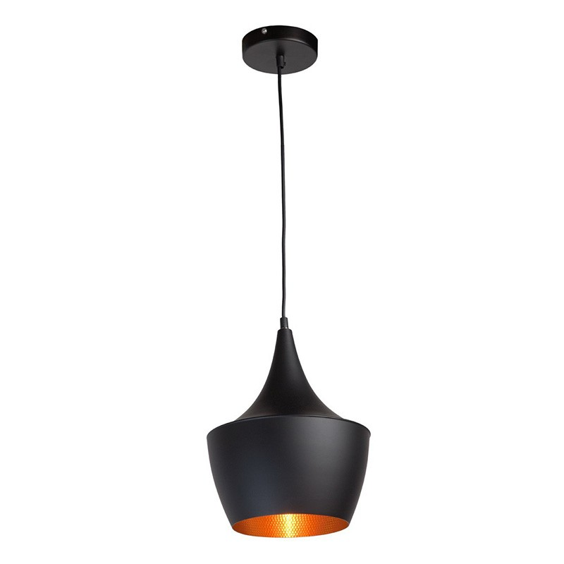 Lampe suspension m tal stetson 25cm noir for Suspension metal noir