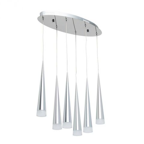 "Lampe Suspension Métal ""Glass"" 50cm Argent"