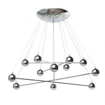 "Lampe Suspension Métal ""Bully"" 90cm Argent"