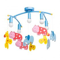 "Lampe Suspension Enfant ""Animaux"" Bleu"