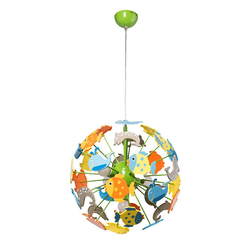 Lampe suspension enfant fishy multicolore - Lampe suspension enfant ...