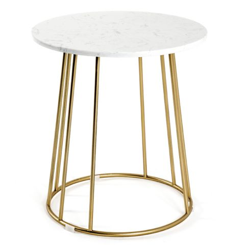 """Table d'Appoint Ronde """"Marbre"""" 40cm Or"""